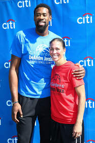 DeAndre Jordan (LA Clippers) and Shannon Boxx (Chicago Red Stars) Celebrate The Launch Of Citi Gardens In Los Angeles (Photo By Imeh Akpanudosen/Getty Images for Citi)