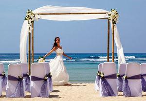 Bride at beach wedding in Bali