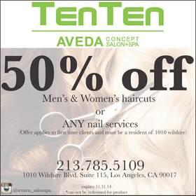 Tenten wilshire offers 50 discount at tenten hair salon for 1010 wilshire salon