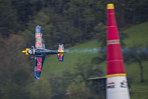 Peter Besenyei of Hungary flies during the training for the eighth stage of the Red Bull Air Race World Championship at the Red Bull Ring in Spielberg, Austria on October 24, 2014. Photo Credit: Sebastian Marko/Red Bull Content Pool