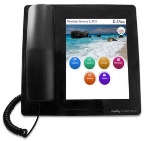 ClarityLife is a service available on the Ensemble® home amplified phone. The senior user has access to ClarityLife through Ensemble's tablet display, offering a variety of intelligent features all designed to keep the senior better connected with caregivers and loved ones.