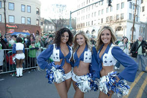 cheerleaders at Shortest St. Patrick's Day Parade