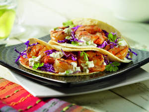 Ceviche-Marinated Grilled Gulf Shrimp Tacos