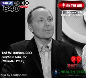 Ted William Karkus, ProPhase Labs, Cold Eeze, PRPH, Health Tech Talk Live, 1800pr, Clear Channel