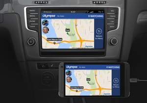Glympse map view in Volkswagen and on Android phone.