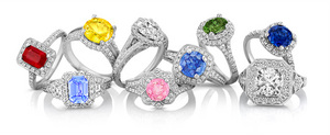 Shane Co. engagement rings with colored gemstones