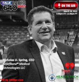 ReliefBand, Nick U. Spring, Clear Channel Interview, Health Tech Talk, HealthTech Talk, 1800pr