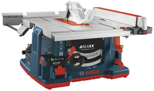 The REAXX Portable Jobsite Table Saw is Bosch's first table saw with its proprietary flesh-detecting Active Response Technology, which rapidly detects human flesh that comes in contact with the blade and drops the saw blade below the tabletop, reducing the risk of serious user injury without damaging the blade.