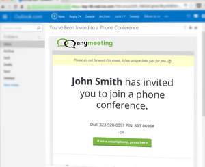 Invite anyone to a free conference call when you cc: Talk@AnyMeeting.com