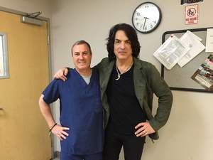 John O'Shaughnessy, Founder and CEO of Matrix Surgical USA (left), with Paul Stanley, KISS guitarist and frontman.
