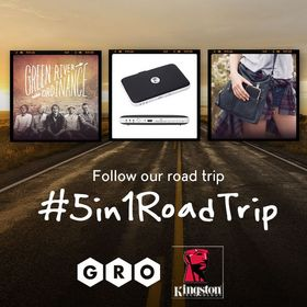 Follow the #5in1RoadTrip hashtag on Facebook, Twitter, Instagram, and Vine to see where Kingston Technology is going with Green River Ordinance & The Gabbie Show!