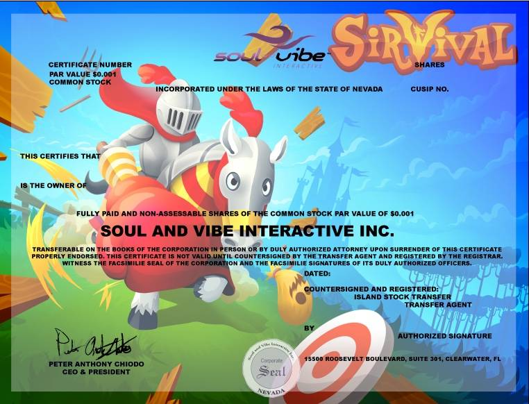 Soul and Vibe to Issue 3rd Series of Limited Edition Stock Certificates That Feature Game Art
