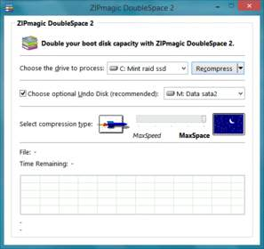 ZIPmagic DoubleSpace 2 one-click user interface screenshot.