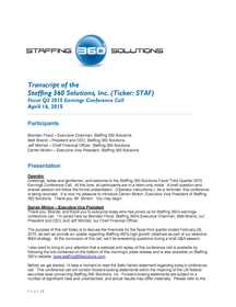 Staffing 360 Solutions Releases Transcript of Q3 2015 Earnings Call