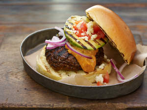 Southwestern Smoky Ranchero Burger with Grilled Avocado