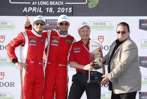 DEKRA congratulates the Green Challenge Winning Team #62 Risi Competizione Ferrari F458 Italia.  Pictured (left to right) are Drivers Giancarlo Fisichella and Pierre Kaffer, Team Manager Dave Sims, and Donald O. Nicholson, CEO and President of DEKRA NA.