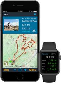 The MotionX-GPS app interface for the Apple Watch