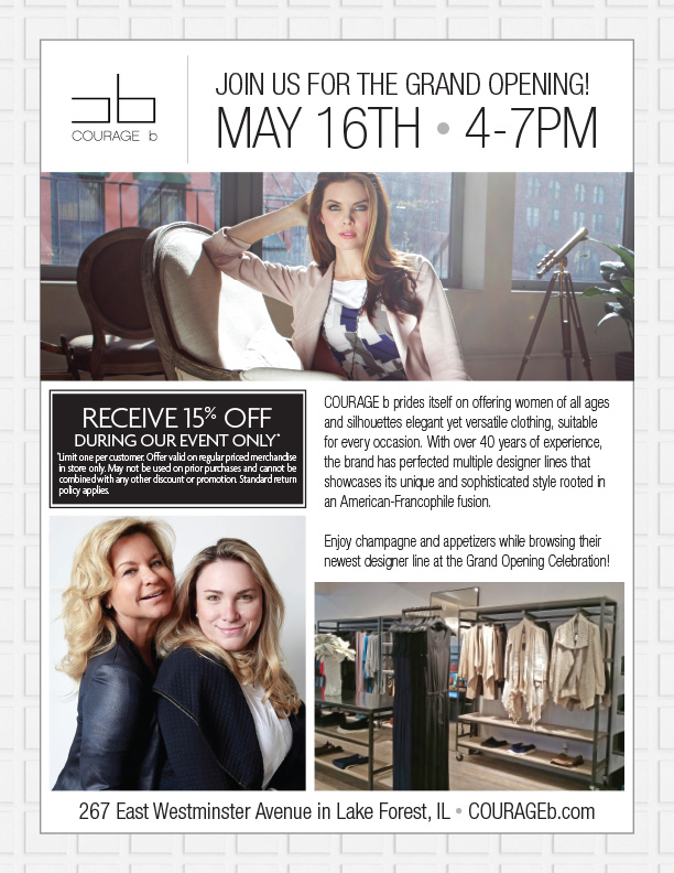 courage b boutique to celebrate its new lake forest il grand