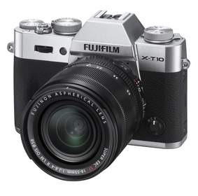 Fuji's new X-T10 compact, interchangeable lens digital camera, in silver with 18-55mm lens, availabl