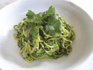Zucchini Pasta with Almond Pesto