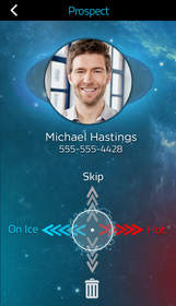 """Prospector's gamification of prospect sorting pulls smartphone contacts into a scrolling list, where distributors categorize the prospect as """"Hot"""" or """"On Ice."""""""