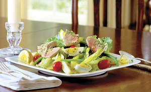 Olive Oil Poached Tuna with Crisp Romaine Salad