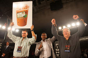 "Photo Credit: Michele Eve Sandberg (L to R) Brian Schoenberg, Steve's Frozen Chillers, LLC. Makers of Skinny Iced Coffee; Howard Davis Jr., Olympic Gold Medalist Boxer and Founder of Fight Time Promotions ""IT'S FIGHT TIME!""; Steve Schoenberg, CEO, Steve's Frozen Chillers, LLC. Makers of Skinny Iced Coffee"
