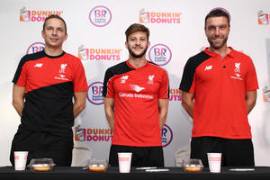 LFC Assistant Manager Pepijin Linjder joins players Adam Lallana and Rickie  Lambert at Dunkin Donuts and Baskin-Robbins meet and greet in Kuala Lumpur