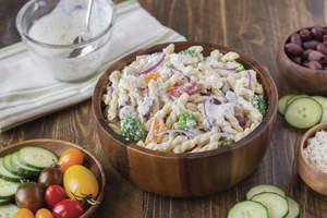 Greek Pasta Salad with Cucumber Yogurt Dressing
