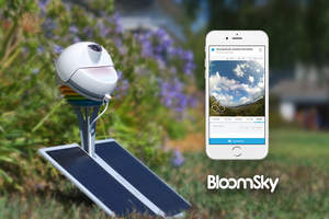 The BloomSky weather station with solar panel.