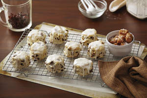 Cinnamon Raisin Biscuits with Caramel Glaze