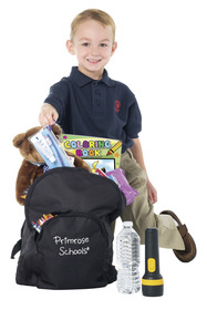 Child with back pack full of supplies