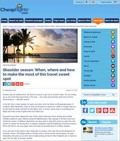 Cheapflights.com tips on Shoulder season: When, where & how to make most of this travel sweet spot