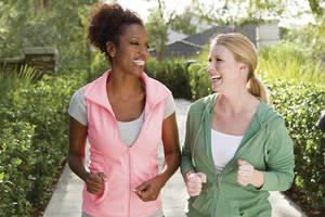 Women walking or jogging together
