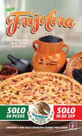 Pizza Patrón ofrece Pizza por 50 PESOS el Día de la Independencia Mexicana