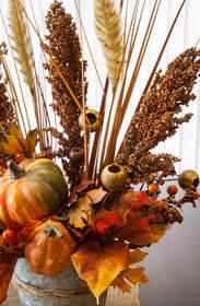 Autumn floral bouquet using sorghum.