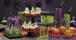 Party eats and treats for Halloween.