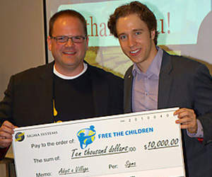 Sigma CEO Tim Spencer (left) in 2010 starting the Free The Children Campaign