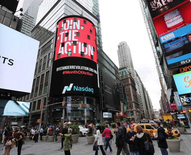 PVBLIC Foundation Amplifies Message of Bystander Revolution on Times Square Billboards During National Bullying Prevention Month