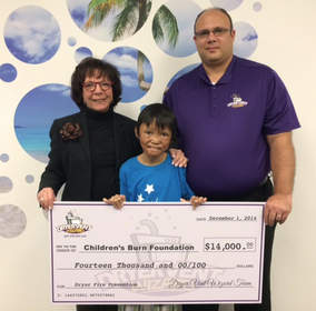Following Dryer Vent Wizard's 2014 campaign to benefit the Children's Burn Foundation, Scott Thomas, DVW's director of operations, presented the company's donation to Carol Horvitz, CBF executive director, and child burn survivor Regimar Pablo