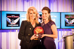 Kim Sill - actress, producer and animal activist - stands with Found Animals' Executive Director, Aimee Gilbreath. Miss Sill was an honoree at the annual Found Animals Gala at the SLS Hotel, where she was recognized for her tireless efforts to help protect animals. She founded Shelter Hope Pet Shops, and created the documentary, Saved in America, an expose on the US pet industry.