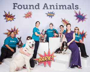 Found Animals, an animal welfare organization that works to end pet homelessness, hosted its 4th annual gala, where it honored outstanding leaders in the animal welfare community.  Held at the SLS Hotel in Los Angeles, Found Animals' Executive Director - Aimee Gilbreath - poses with shelter dogs and volunteers from their Adopt & Shop center.
