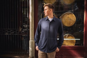 Ya Joe's analytic-inspired knit button-up is easy to care for, comfortable and functional.