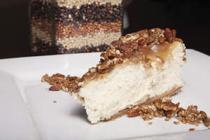 Sorghum Pecan Praline Cheesecake