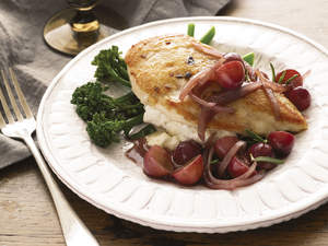 Feta Stuffed Chicken Breasts with Grape-Port Sauce
