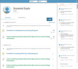 New Optymyze Social Objectives: Individual dashboard shows a user's objectives, with activity feed and progress towards their attainment.