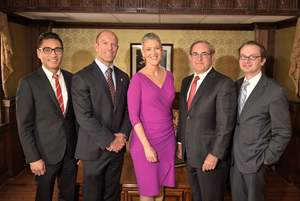 Fox News National Security Correspondent Jennifer Griffin (center) with (from left to right) Dr. Jerry W. Chang, Dr. Tommaso Addona, Dr. Roger L. Simpson, Dr. Michael Dobryansky from LI Plastic Surgical Group, PC.