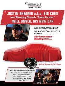 WELD announces the unveiling of Justin Shearer's new car at PRI at their booth, #1139.