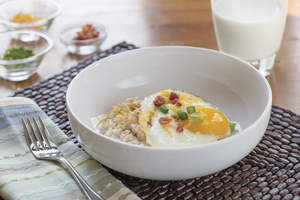 Savory Oatmeal with Soft-Cooked Egg and Bacon