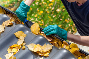 Person cleaning leaves out of roof gutters.